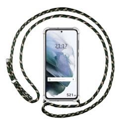 Funda Colgante Transparente para Samsung Galaxy S21 5G con Cordon Verde / Dorado