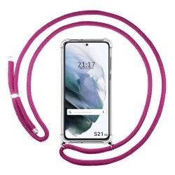 Funda Colgante Transparente para Samsung Galaxy S21 5G con Cordon Rosa Fucsia