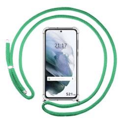 Funda Colgante Transparente para Samsung Galaxy S21 5G con Cordon Verde Agua
