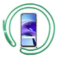 Funda Colgante Transparente para  Xiaomi Redmi Note 9T 5G con Cordon Verde Agua