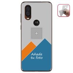Personaliza tu Funda Gel Silicona Transparente con tu Fotografia para Motorola One Vision Dibujo Personalizada