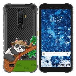 Funda Gel Transparente para Ulefone Armor X8 diseño Panda Dibujos