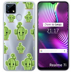 Funda Gel Transparente para Realme 7i diseño Cactus Dibujos