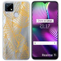 Funda Gel Transparente para Realme 7i diseño Hojas Dibujos