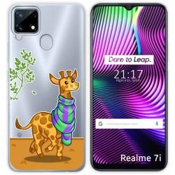 Funda Gel Transparente para Realme 7i diseño Jirafa Dibujos