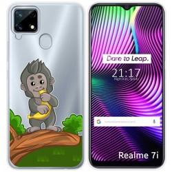 Funda Gel Transparente para Realme 7i diseño Mono Dibujos