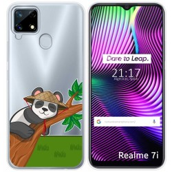 Funda Gel Transparente para Realme 7i diseño Panda Dibujos