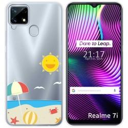 Funda Gel Transparente para Realme 7i diseño Playa Dibujos