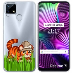 Funda Gel Transparente para Realme 7i diseño Tigre Dibujos