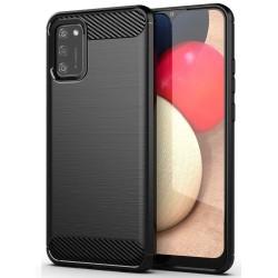 Funda Gel Tpu Tipo Carbon Negra para Samsung Galaxy A02s