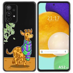 Funda Gel Transparente para Samsung Galaxy A52 / A52 5G diseño Jirafa Dibujos