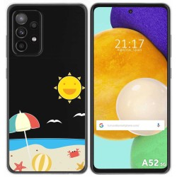 Funda Gel Transparente para Samsung Galaxy A52 / A52 5G diseño Playa Dibujos