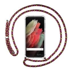 Funda Colgante Transparente para Samsung Galaxy S21 Ultra 5G con Cordon Rosa / Dorado