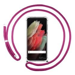Funda Colgante Transparente para Samsung Galaxy S21 Ultra 5G con Cordon Rosa Fucsia