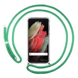 Funda Colgante Transparente para Samsung Galaxy S21 Ultra 5G con Cordon Verde Agua
