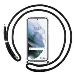 Funda Colgante Transparente para Samsung Galaxy S21+ Plus 5G con Cordon Negro