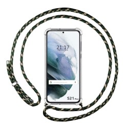 Funda Colgante Transparente para Samsung Galaxy S21+ Plus 5G con Cordon Verde / Dorado