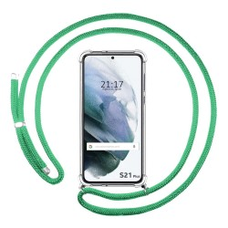 Funda Colgante Transparente para Samsung Galaxy S21+ Plus 5G con Cordon Verde Agua