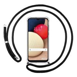 Funda Colgante Transparente para Samsung Galaxy A02s con Cordon Negro