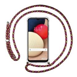 Funda Colgante Transparente para Samsung Galaxy A02s con Cordon Rosa / Dorado