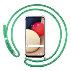 Funda Colgante Transparente para Samsung Galaxy A02s con Cordon Verde Agua