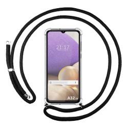 Funda Colgante Transparente para Samsung Galaxy A32 5G con Cordon Negro