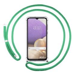 Funda Colgante Transparente para Samsung Galaxy A32 5G con Cordon Verde Agua
