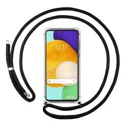 Funda Colgante Transparente para Samsung Galaxy A52 / A52 5G con Cordon Negro