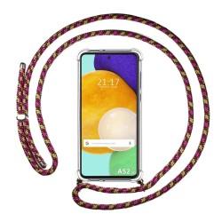 Funda Colgante Transparente para Samsung Galaxy A52 / A52 5G con Cordon Rosa / Dorado