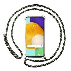 Funda Colgante Transparente para Samsung Galaxy A52 / A52 5G con Cordon Verde / Dorado