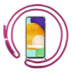 Funda Colgante Transparente para Samsung Galaxy A52 / A52 5G con Cordon Rosa Fucsia