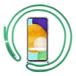 Funda Colgante Transparente para Samsung Galaxy A52 / A52 5G con Cordon Verde Agua