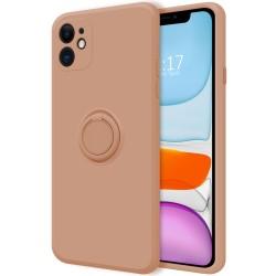 Funda Silicona Líquida Ultra Suave con Anillo para Iphone 11 (6.1) color Rosa