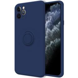 Funda Silicona Líquida Ultra Suave con Anillo para Iphone 11 Pro Max (6.5) color Azul