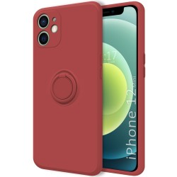 Funda Silicona Líquida Ultra Suave con Anillo para Iphone 12 Mini (5.4) color Rojo Coral