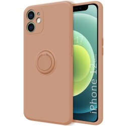 Funda Silicona Líquida Ultra Suave con Anillo para Iphone 12 Mini (5.4) color Rosa