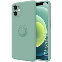 Funda Silicona Líquida Ultra Suave con Anillo para Iphone 12 Mini (5.4) color Verde