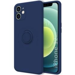 Funda Silicona Líquida Ultra Suave con Anillo para Iphone 12 Mini (5.4) color Azul