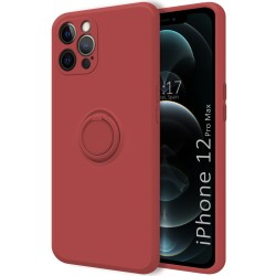 Funda Silicona Líquida Ultra Suave con Anillo para Iphone 12 Pro Max (6.7) color Rojo Coral