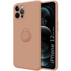 Funda Silicona Líquida Ultra Suave con Anillo para Iphone 12 Pro Max (6.7) color Rosa