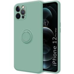 Funda Silicona Líquida Ultra Suave con Anillo para Iphone 12 Pro Max (6.7) color Verde