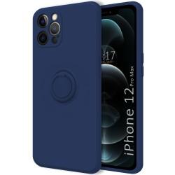 Funda Silicona Líquida Ultra Suave con Anillo para Iphone 12 Pro Max (6.7) color Azul