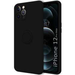 Funda Silicona Líquida Ultra Suave con Anillo para Iphone 12 Pro Max (6.7) color Negra