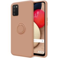 Funda Silicona Líquida Ultra Suave con Anillo para Samsung Galaxy A02s color Rosa