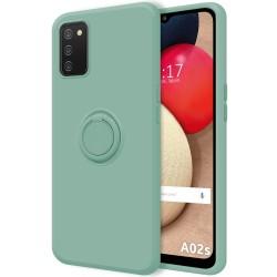 Funda Silicona Líquida Ultra Suave con Anillo para Samsung Galaxy A02s color Verde