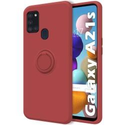 Funda Silicona Líquida Ultra Suave con Anillo para Samsung Galaxy A21s color Rojo Coral