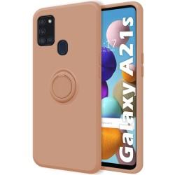 Funda Silicona Líquida Ultra Suave con Anillo para Samsung Galaxy A21s color Rosa