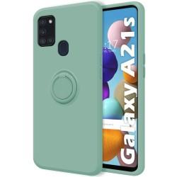 Funda Silicona Líquida Ultra Suave con Anillo para Samsung Galaxy A21s color Verde
