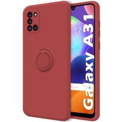 Funda Silicona Líquida Ultra Suave con Anillo para Samsung Galaxy A31 color Rojo Coral