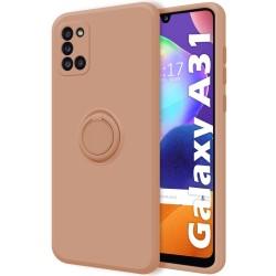 Funda Silicona Líquida Ultra Suave con Anillo para Samsung Galaxy A31 color Rosa